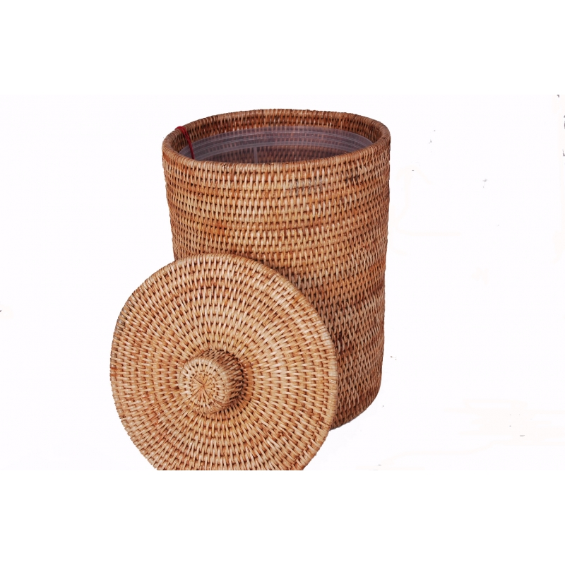 Rattan Waste Paper Bin Basket with Lid and Liner | Must-Have Bins